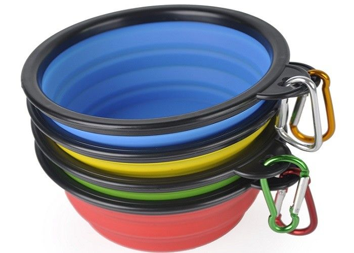 13cm Collapsible Travel Plastic Pet Bowls Multi Color Food Grade Silicone