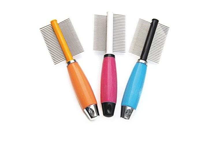 Stainless Steel Steel Pet Comb Bule Red Orange Different Teeth ABS Plastic